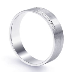 18ct White Gold 6mm Men's Crossover Wedding Band Flat Court H SI image 1