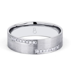 18ct White Gold 6mm Men's Crossover Wedding Band Flat Court H SI image 0