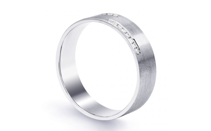 18ct White Gold 6mm Men's Crossover Wedding Band Flat Court H SI product image 2