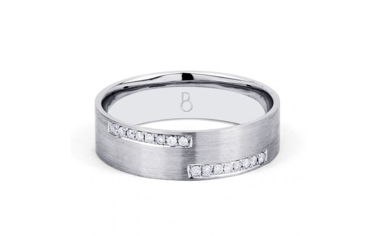 18ct White Gold 6mm Men's Crossover Wedding Band Flat Court H SI product image 1