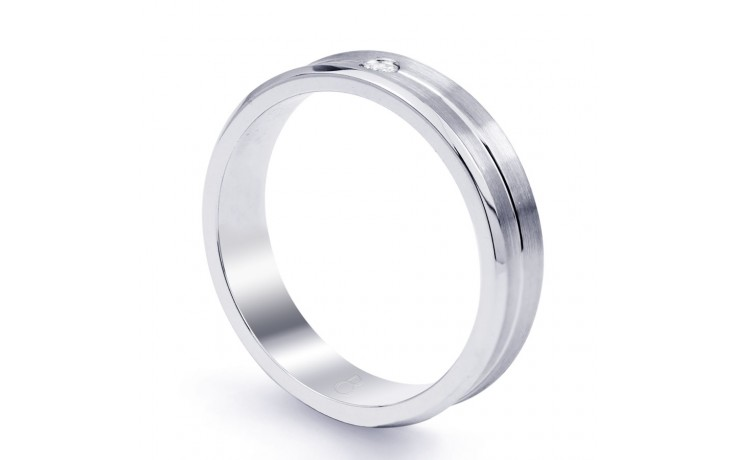 6mm Men's Wedding Band 18ct White Gold Flat Court 0.14ct product image 2