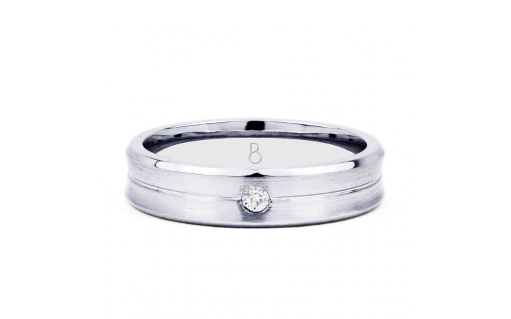 6mm Men's Wedding Band 18ct White Gold Flat Court 0.14ct product image 1