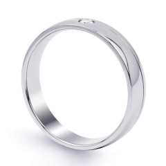 18ct White Gold 4.5mm Men's Wedding Band Court H SI image 1