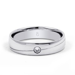 18ct White Gold 4.5mm Men's Wedding Band Court H SI image 0