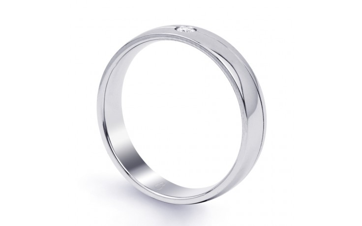 18ct White Gold 4.5mm Men's Wedding Band Court H SI product image 2