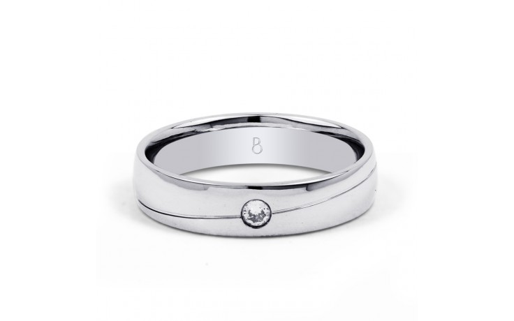 18ct White Gold 4.5mm Men's Wedding Band Court H SI product image 1