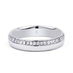 18ct White Gold 4mm Wedding Band Court H SI image 0