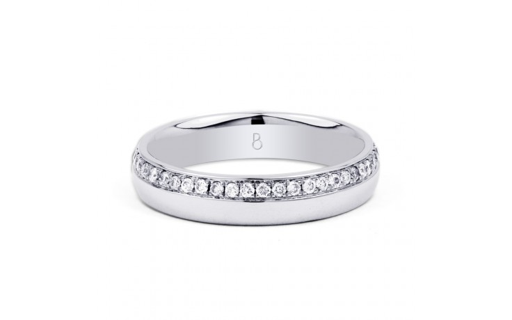 18ct White Gold 4mm Wedding Band Court H SI product image 1