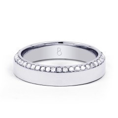 Wedding Band Flat Court 18ct White Gold Flat Court H SI image 0