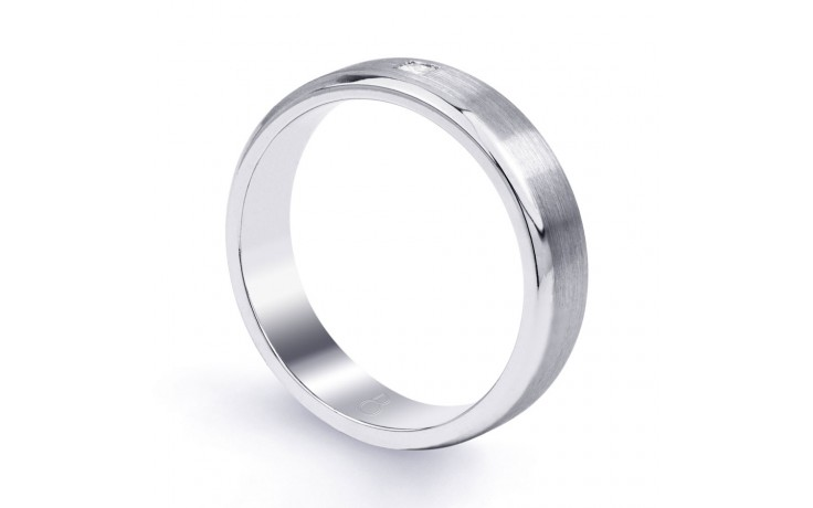 18ct White Gold 5mm Men's Wedding Band Flat Court H SI product image 2