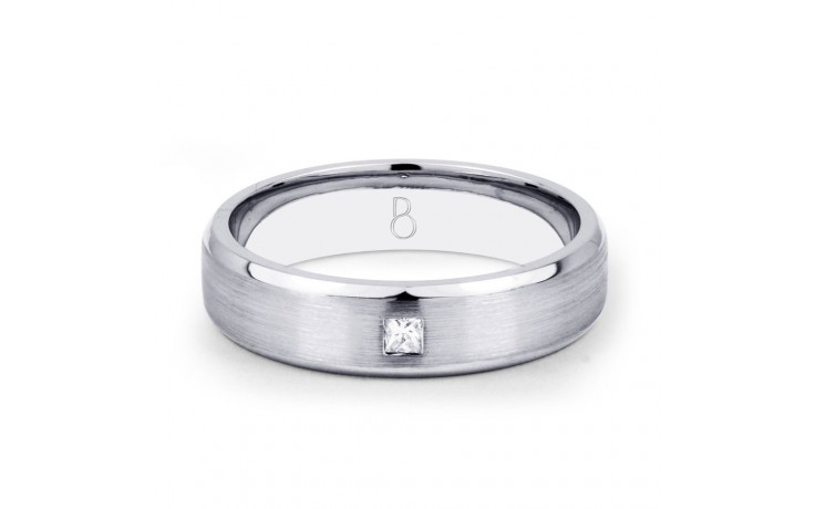 18ct White Gold 5mm Men's Wedding Band Flat Court H SI product image 1