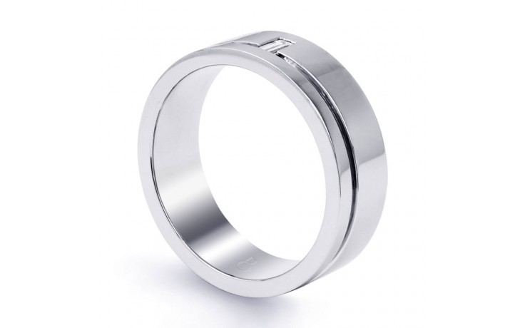18ct White Gold 7mm Men's Wedding Band Flat Court H SI product image 2