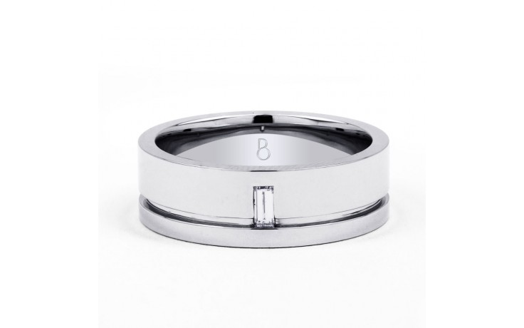 18ct White Gold 7mm Men's Wedding Band Flat Court H SI product image 1