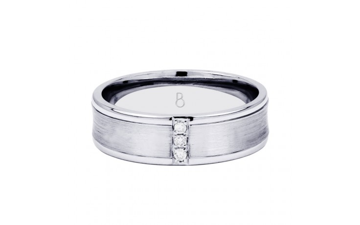 Men's Wedding Band Concave 18ct White Gold Concave H SI product image 1