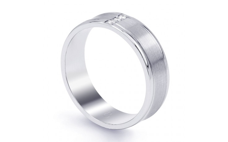 Men's Wedding Band Concave 18ct White Gold Concave H SI product image 2
