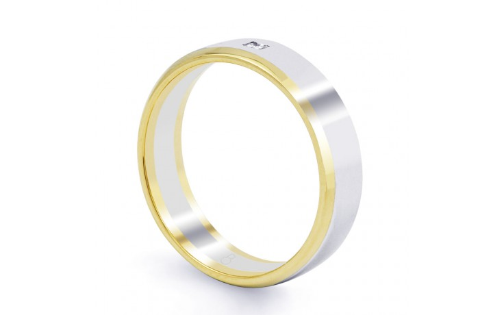 Mixed Metal Wedding Band Flat Court product image 2