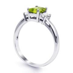 Adorn 18ct White Gold Peridot and Diamond Engagement Ring image 1