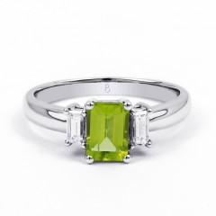 Adorn 18ct White Gold Peridot and Diamond Engagement Ring image 0