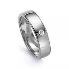 5.5mm Men's Diamond Wedding Band 18ct White Gold Flat Court 0.05ct image 0