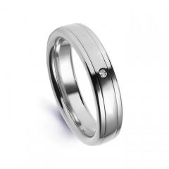 Platinum 950 5.5mm Men's Diamond Wedding Band Flat Court G VS image 0