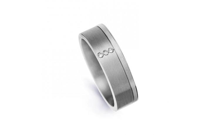 6mm Men's Diamond Wedding Band 18ct White Gold Flat Court 0.045ct product image 1