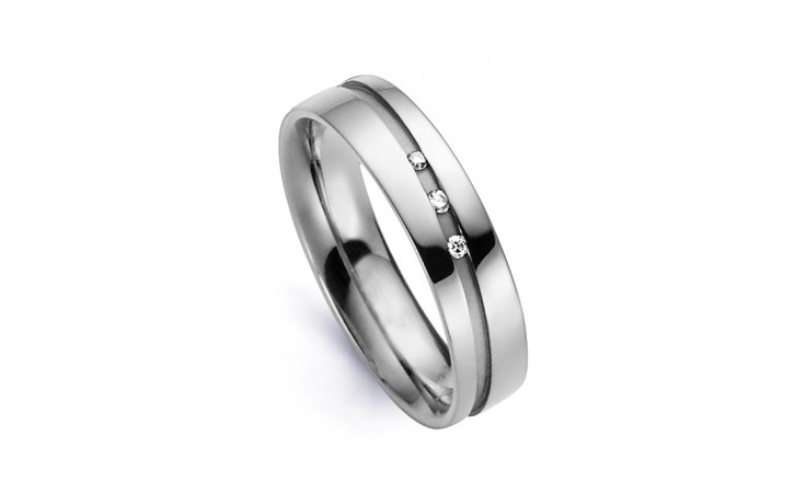 5.5mm Men's Diamond Wedding Band 18ct White Gold Court 0.045ct product image 1