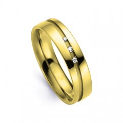 Men's Diamond Wedding Band Flat Court 18ct Yellow Gold Flat Court H SI image 0