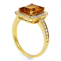 Vogue Citrine and Diamond Cocktail Ring in 18ct Yellow Gold image 1