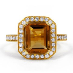 Vogue Citrine and Diamond Cocktail Ring in 18ct Yellow Gold image 0