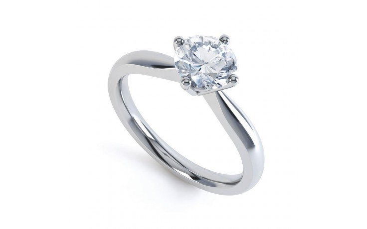 GIA Round Solitaire Engagement Ring 0.30ct 1.5mm Band product image 2