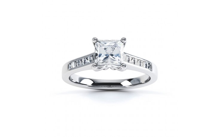 Princess Diamond Shoulders Engagement Ring in Platinum GIA product image 1
