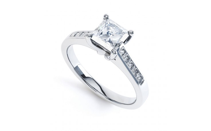 Princess Diamond Shoulders Engagement Ring in Platinum GIA product image 2