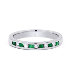 Amor 18ct White Gold Emerald Channel Set Eternity Ring image 0