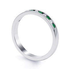 Amor 18ct White Gold Emerald Channel Set Eternity Ring image 1