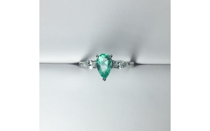 Teardrop Emerald & Diamond Engagement Ring product image 1