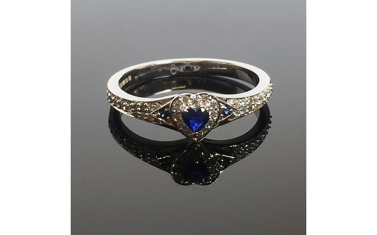 Blue Sapphire Heart Engagement Ring product image 1
