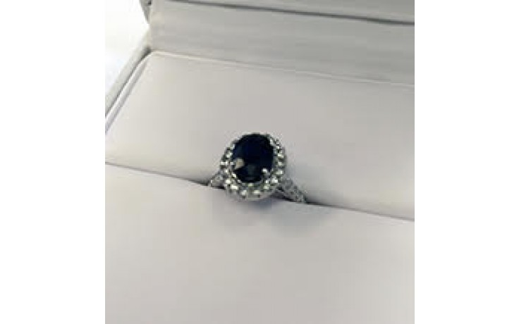 Vintage Blue Sapphire Halo Engagement Ring  product image 1