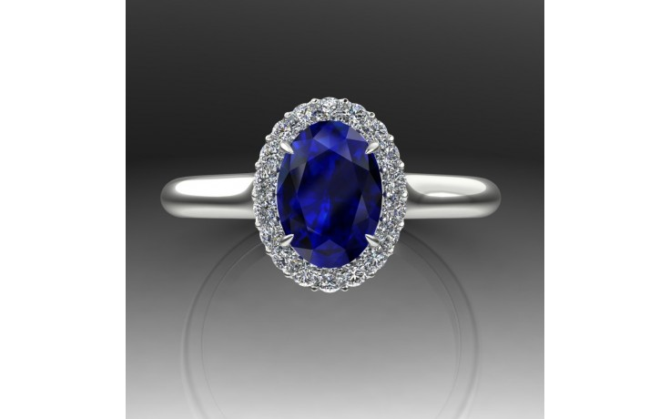 Bespoke Blue Sapphire Halo Ring product image 1