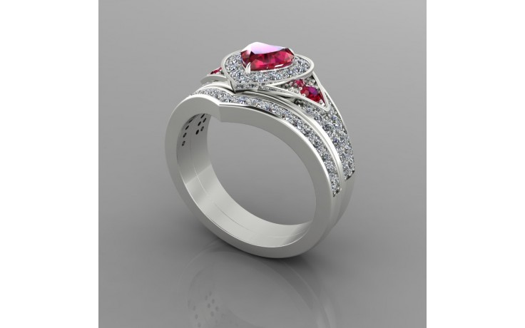 Bespoke Ruby & Diamond Bridal Set  product image 1