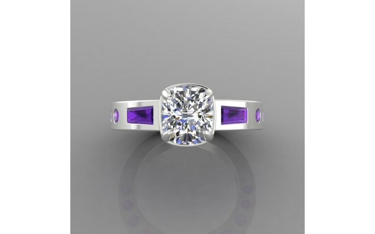 Bespoke Diamond & Amethyst Engagement Ring product image 1