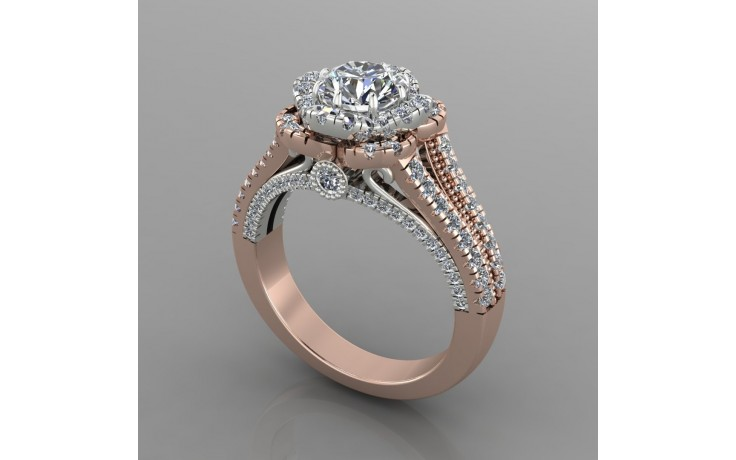 Bespoke Rose Gold & Diamond Split Shoulder Engagement Ring product image 1