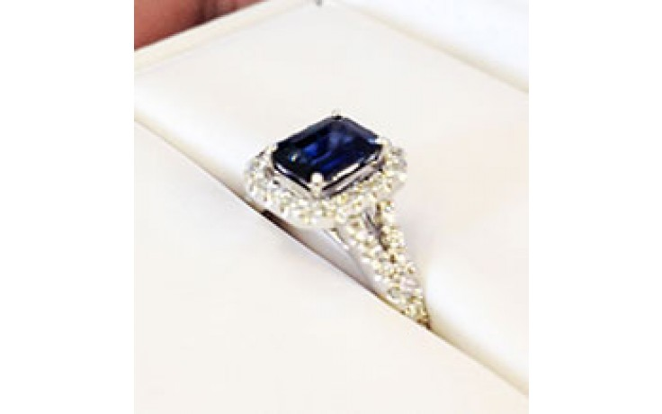 Modern Halo Sapphire Engagement Ring product image 1