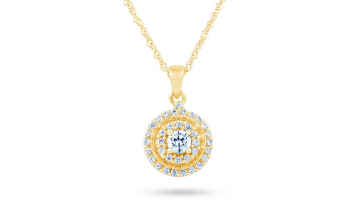 Round Yellow Gold Diamond Pendant product image 2