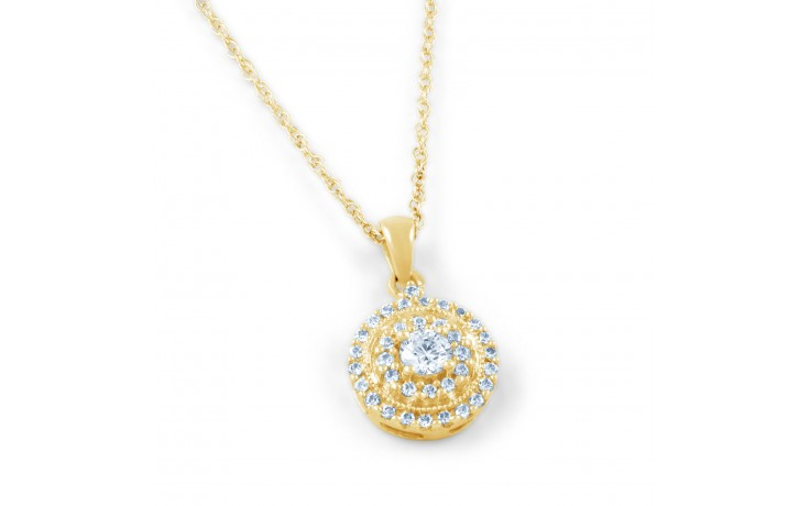 Round Yellow Gold Diamond Pendant product image 1