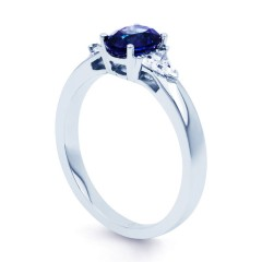 Kashmir 18ct White Gold Blue Sapphire and Diamond Gemstone Ring image 1