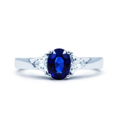 Kashmir 18ct White Gold Blue Sapphire and Diamond Gemstone Ring image 0