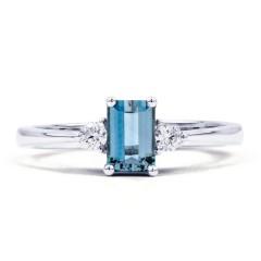 Anya 18ct White Gold Aquamarine and Diamond Gemstone Ring image 0