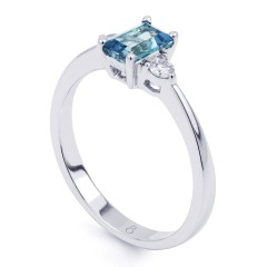 Anya 18ct White Gold Aquamarine and Diamond Gemstone Ring image 1