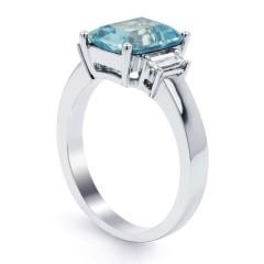 Bleu Aquamarine Ring with Baguette Diamonds image 1
