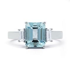 Bleu Aquamarine Ring with Baguette Diamonds image 0